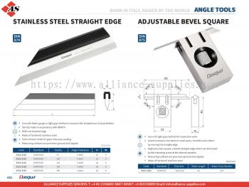 DASQUA Stainless Steel Straight Edge / Adjustable Bevel Square