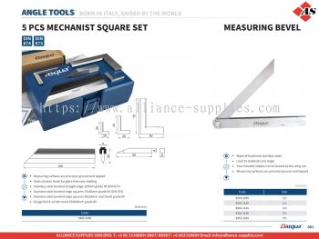 5 Pcs Mechanist Square Set / Measuring Bevel