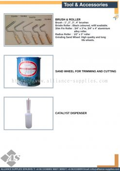Brush & Roller / Sand Wheel for Trimming and Cutting / Catalyst Dispenser