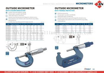 DASQUA Outside Micrometer with 0.01mmm Graduation / Outside Micrometer with Thermal Protection