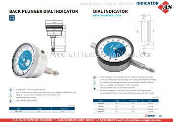 DASQUA Back Plunger Dial Indicator / Dial Indicator with One-Revolution