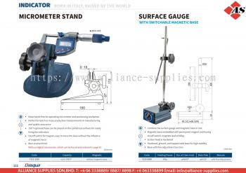 DASQUA Micrometer Stand / Surface Gauge with Switchable Magnetic Base
