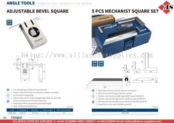 DASQUA Adjustable Bevel Square / 5 Pcs Mechanist Square Set