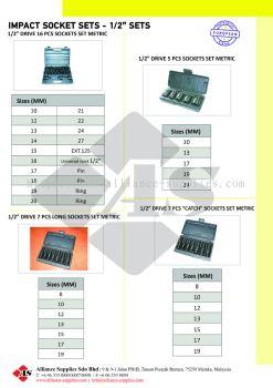 """OZAT Impact Socket Sets - 1/2"""" Square drive, Metrics"""