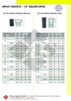 "OZAT Impact Sockets 6 pt - 1/2"" Square Drive, Metrics, Inches, Thin Wall Regular & D"