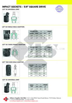 "OZAT Impact Adaptors, Universal Joints - 5/8"" Square Drive"