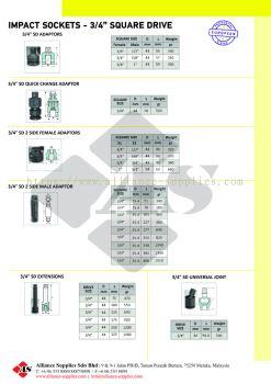 "OZAT Impact Adaptors, Quick Change, Extensions, Universal Joint - 3/4"" Sq Drive"