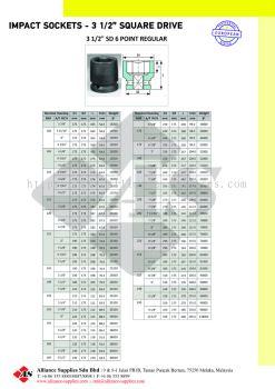 "OZAT Impact Sockets 6 pt- 3 1/2"" Square Drive, Metrics, Inches, Regular"