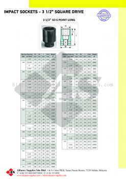 "OZAT Impact Sockets 6 pt - 3 1/2"" Square Drive, Metrics, Inches, Deep"