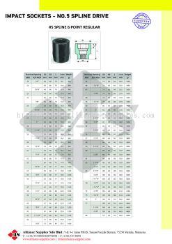 OZAT Impact Sockets 6 pt - No.5 Spline Drive, Metrics, Inches, Regular