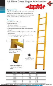 Full Fibre Glass Single Pole Ladder (Non-Sparking Industrial Ladder)