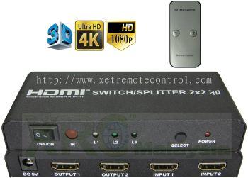 2 x 2 WAY HDMI SWITCH SPLITTER BOOSTER