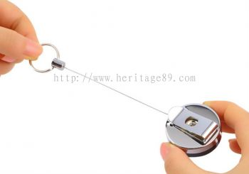 Pull Key Reel Keyring 1.5ft. Extendable Retractable Metal Chrome ID Holder - Heavy Duty Version.