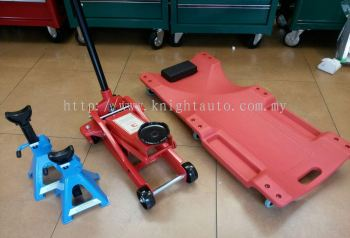 Floor Jack With Creeper and Jack Stand Set