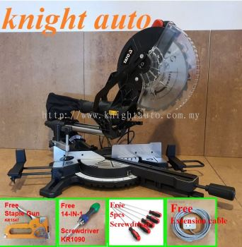 Free- Yato 255mm YT-82173 / YT-82173SB 1800W Sliding Mitre Saw with Laser Guide ID31752