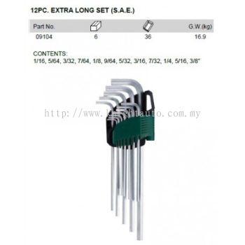 Sata 09104 EXTRA LONG HEX.KEY SET (S.A.E.) 12PC ID32201
