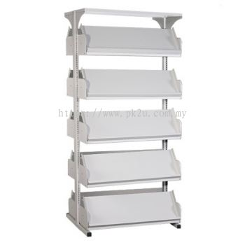 Double Sided Library Magazine Rack - 5 Shelves (G2-DSLM-5L-OP)