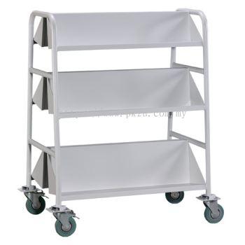 Double Sided Book Trolley - 6 Slanting Shelves (G2-LBEM-2)