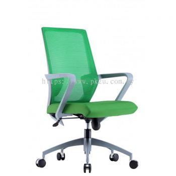 ANGLE - Mid Back Mesh Chair with Grey Nylon Base & Armrest (C1-BCMC-13-M)
