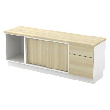 SC-YOSP-1626 - Open Shelf + Sliding Door + Fixed Pedestal 1D1F