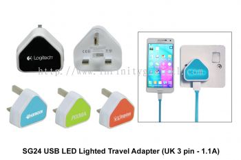 EL040 LED Lighted Travel Adapter (UK 3 pin - 1.1A)