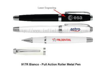 917R Bianco - Pull Action Roller Metal Pen