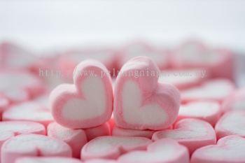 Marshmallow Double Heart 1kg per bag