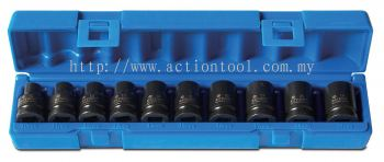 "10 Piece 1/2"" dr., 6-Point Impact Socket Set (Item No.605201001)"