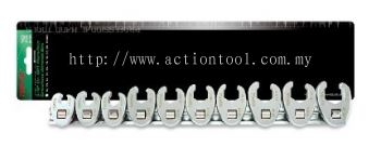 "3/8"" Dr. 6PT Flare Nut Crowfoot Wrench Set (METRIC)"