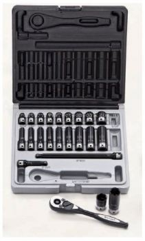 "No. 12042301 23 Piece 1/4"" Drive 6-Point Fractional Standard & Deep Socket Set"