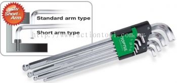 Extra Long Type Ball Point Hex Key Wrench Set (Short-Arm Hex Key End Type)