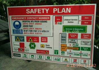 safety signboard/emergency floor plan signage for every entrance. Before u entering the factory. when fire outbreak u know where u are to Exit?