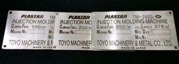 machine tag by laser marking & engraving on STAINLESS steel or Aluminum plate/graverplay plate for New and recondition machinery (click for more detail)