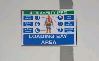 ppe sign n safety for loading bay /rack aluminum holder/rack numbering code sign n infomation board