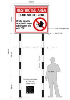 restricted zone signboard in oil and gas industry