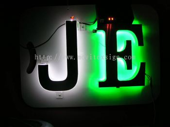 "backlite Led effect ""J"" in Arcylic  25mm tickness  and Aluminium 3D box up hv wider light image"