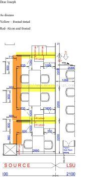 Floor plan of tinted  film /Sandblast film location