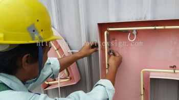 repair neon n upgrade signboard with resorts new painting at your building