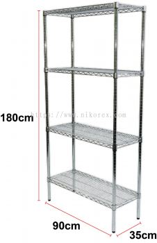 340004 - CHROMED WAVE RACK 180H x 90L x 35Dcm (4-100A)