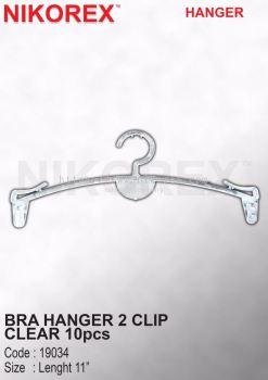19034-BRA HANGER 2 CLIP CLEAR 10pcs