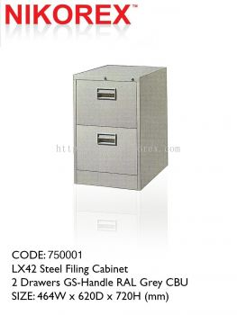 "750001 - 2 DRAWERS FILING CABINET (LX42) 18.5""L"