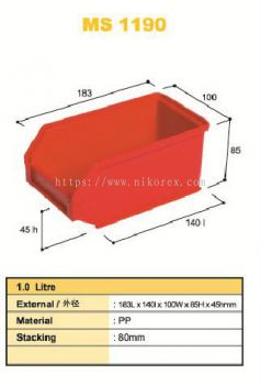 80313-MS1190 183X100X85MM STORAGE BIN