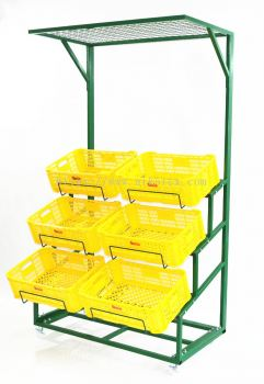19888-NVR003-Veg Rack c/w 6Basket-Top Net