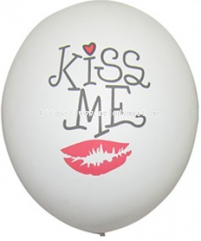 Printed 12 inch Latex Balloon \ Kiss Me 100pcs pack