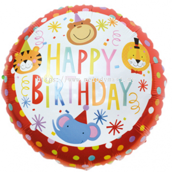 "Foil 18"" Animal H.Birthday"