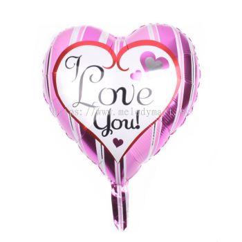 """Foil 18"""" Heart - I Love U - Pink Line"""