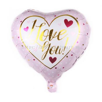 "Foil 18"" Heart - I Love U - White Mini Love"