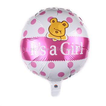"""Foil 18"""" it's a Girl - Bear"""
