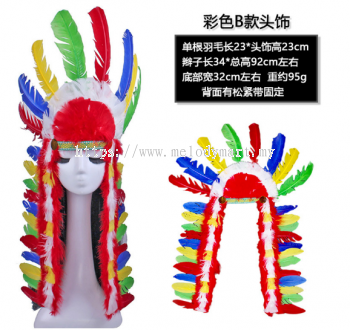 Red Indian Feather Headband - long