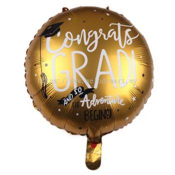Foil congrats grad round shape - gold